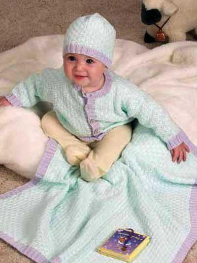 Baby Sets Knitting Patterns : Free Baby Knitting Patterns - Woven-Stitch Baby Set